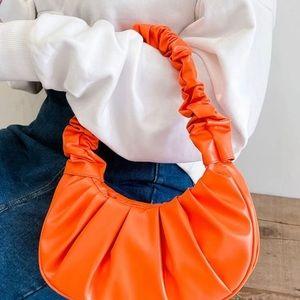 Ladies Ruched Shoulder Bag-Orange